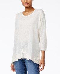 Styleandco. Style Co. Crochet Trim Handkerchief Hem Top Only At Macy's Warm Ivory