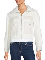 Diane Von Furstenberg Rabbit Fur Trim Bomber Jacket Winter White