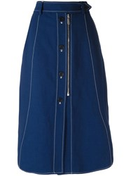 Sportmax Stitch Detail Midi Skirt Blue