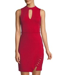 Bebe Choker Neck Bandage Dress Red