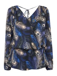 Biba Peacock Printed Wrap Blouse Multi Coloured