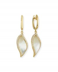 Frederic Sage Venus Curved Leaf Mother Of Pearl Earrings With Diamonds In 18K Yellow Gold