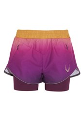Lucas Hugh Rebel Ombre Shell And Stretch Jersey Shorts Purple
