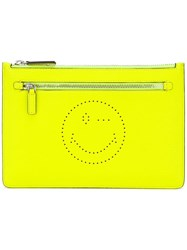 Anya Hindmarch Zip Clutch Yellow Orange