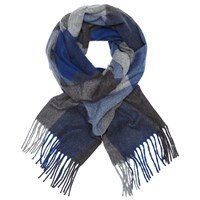 John Lewis Stewkley Cashmink Check Scarf Blue Grey