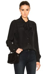 Frame Denim Tie Neck Top In Black