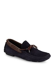 Bugatchi Lucca Leather Moccasins Navy