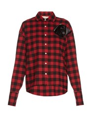 A.W.A.K.E. Kurts Oversized Checked Cotton Shirt Black Red
