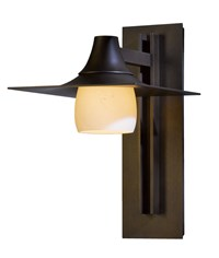 Hubbardton Forge Hood Large Glass Outdoor Sconce Bronze Stone