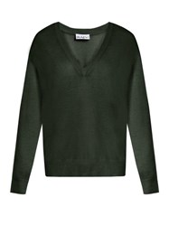 Raey V Neck Fine Knit Cashmere Sweater Dark Green