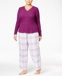 Alfani Plus Size Ribbed Henley Pajama Top Only At Macy's Plum