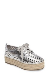 Steve Madden Women's Shadow Perforated Platform Oxford Silver