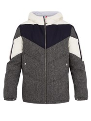 Moncler Gamme Bleu Hooded Contrast Panel Herringbone Wool Down Jacket Grey