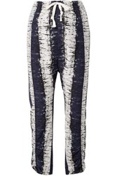By Malene Birger Delma Printed Cotton And Silk Blend Pants Navy