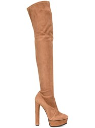Casadei High Heel Platform Boots Nude And Neutrals