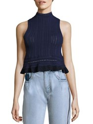 3.1 Phillip Lim Compact Pointelle Lace Cropped Tank Top Midnight Blue