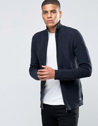 Selected Homme Ribbed Zipped Cardigan Navy