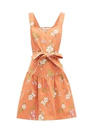 Rebecca Taylor Lita Floral Print Cotton Dress Coral