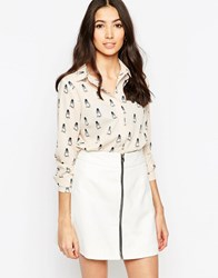 Sugarhill Boutique Jemima Owl Print Shirt Cream