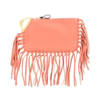 Valentino C Rockee Scarab Fringed Leather Clutch
