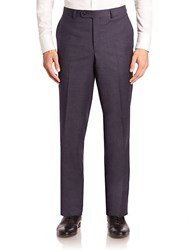 Saks Fifth Avenue Red Collection Checked Wool Trousers Navy