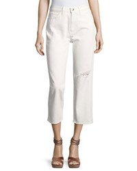 Mih Jeans Jeanne Ripped Cropped Pants White