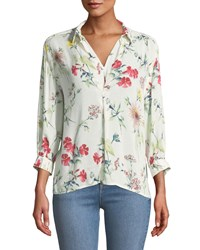 Chelsea And Theodore 3 4 Sleeve Floral Prnt High Low Blouse Multi