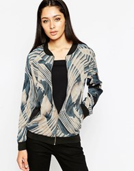 Ax Paris Bomber Jacket In Illusion Print Multi