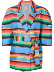 Stella Jean Striped Belt Jacket Multicolour