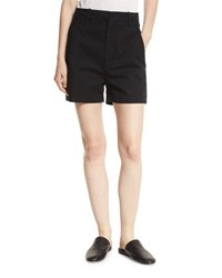 Vince High Waist Stretch Cotton Shorts Black