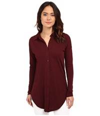 Mod O Doc Sueded Slub Jersey Drop Shoulder Button Front Shirt Burgundy Noir Women's Long Sleeve Button Up Brown