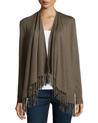 Neiman Marcus Open Front Fringed Cardigan Olive