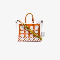 Heron Preston X Off White Collaboration Large Pvc Tote Bag Yellow And Orange