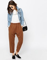 Asos Washed Casual Tapered Peg Trousers Brown