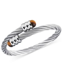 Charriol Women's Celtic Tiger Eye Accent Stainless Steel Cable Bangle Bracelet 04 01 1165 5 Silver