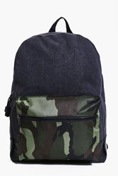 Boohoo And Pu Mixed Camo Back Pack Black