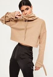 Missguided Nude Funnel Neck Strap Cuff Sweatshirt Clay