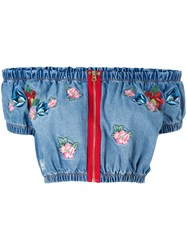 House Of Holland Embroidered Crop Top Women Cotton Polyester M Blue