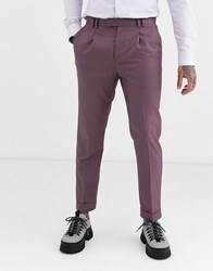 Topman Skinny Smart Trousers With Turn Ups In Burgundy Red