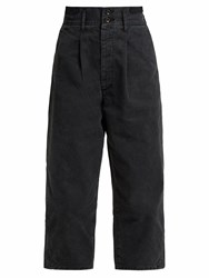 Chimala Cropped Cotton Twill Trousers Black