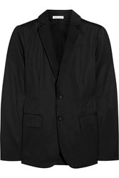 Tomas Maier Satin Trimmed Cotton Gabardine Blazer Black