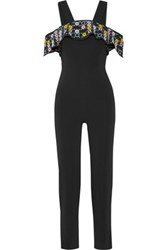 Peter Pilotto Off The Shoulder Embroidered Stretch Cady Jumpsuit Black