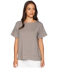 Fresh Produce Pinstripe Riley Top Portobello Brown Short Sleeve Pullover Taupe