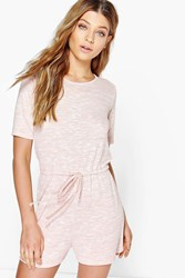 Boohoo Casual Relaxed Fit Knitted Playsuit Nude