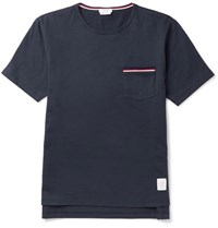 Thom Browne Slim Fit Grosgrain Trimmed Cotton Jersey T Shirt Blue