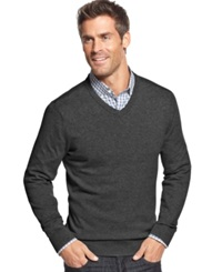 John Ashford Big And Tall Solid Long Sleeve V Neck Sweater Cindersmoke