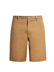 Acne Studios Allan Wide Leg Cotton Blend Shorts Brown