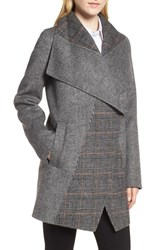 Tahari Nicky Double Face Wool Blend Oversize Coat Grey Combo Twill Plaid