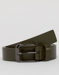 Smith And Canova Leather Belt In Khaki Black