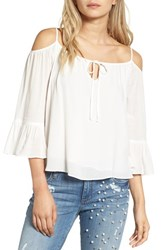 Sun And Shadow Women's Cold Shoulder Ruffle Top